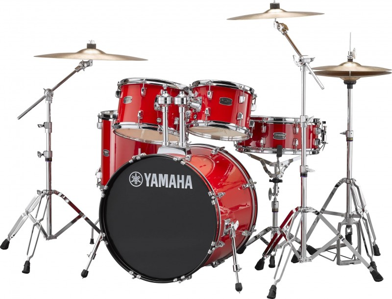 YAMAHA – RYDEEN 5 PIECE FUSION DRUM KIT WITH HARDWARE & CYMBALS – HOT RED