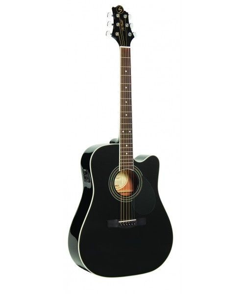 Greg Bennett Solid Dreadnought Cutaway Electric Acoustic Guitar Black