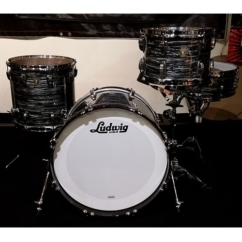 """Ludwig Classic Maple 4 Piece Downbeat 20"""" Drum Kit Shell Set - Vintage Black Oyster"""