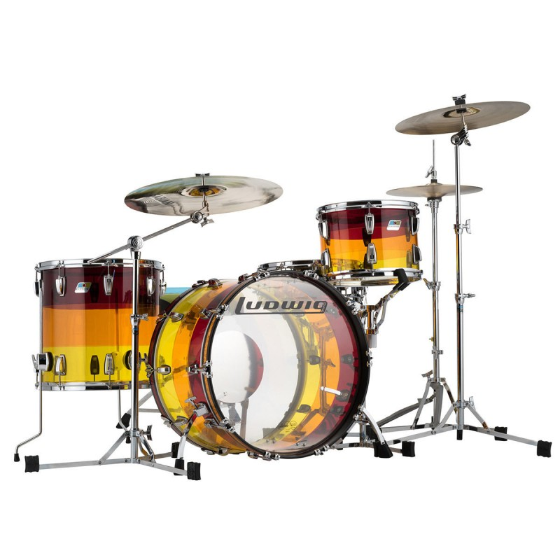 Ludwig Vistalite Limited Edition 4 Piece Drum Kit Shell Set Fab 22 - Tequila Sunrise