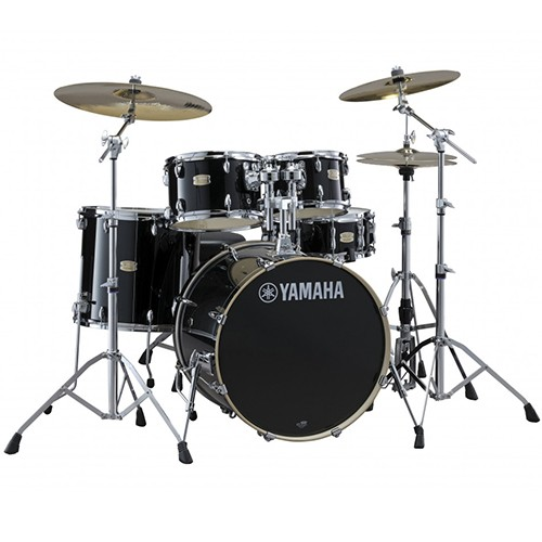 Yamaha Stage Custom Birch 6 Piece Euro Drum Kit with Hardware - Raven Black - BONUS FLOOR TOM