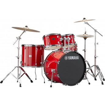 YAMAHA – RYDEEN 5 PIECE DRUM KIT IN EURO SIZES WITH HARDWARE & CYMBALS – HOT RED