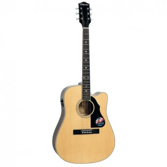 Silvertone Solid Dreadnought Cutaway Electric Acoustic Guitar Natural