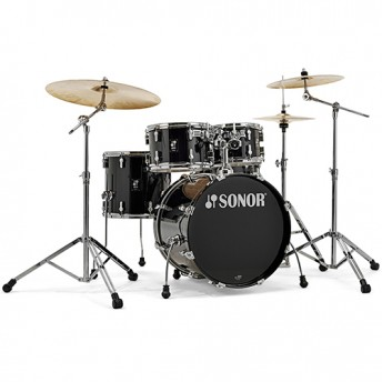 "Sonor AQ1 Stage 5 Piece 22"" Birch Drum Kit Set with Hardware - Piano Black"