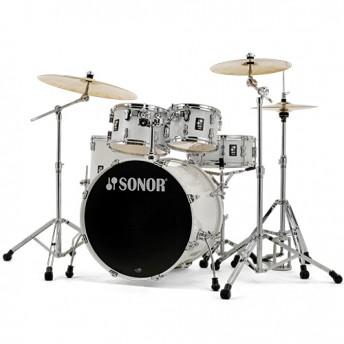 "Sonor AQ1 Stage 5 Piece 22"" Birch Drum Kit Set with Hardware - Piano White"