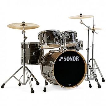 """Sonor AQ1 Stage 5 Piece 22"""" Birch Drum Kit Set with Hardware - Wood Grain Black"""