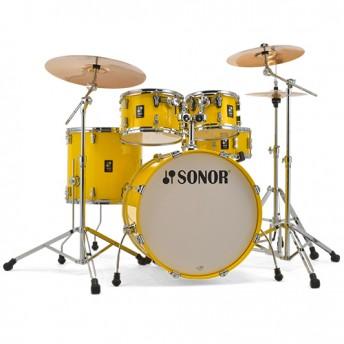 """Sonor AQ1 Studio 5 Piece 20"""" Birch Drum Kit Set with Hardware - Lite Yellow"""