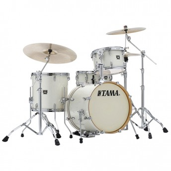 "TAMA Superstar Classic 4 Piece 18"" Drum Kit Set with Hardware - Vintage White Sparkle Finish"