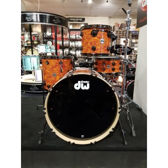 DW Collectors Series 4 Piece Maple Drum Kit Shell Set - Amber Swirl w/Black Nickel Hoops