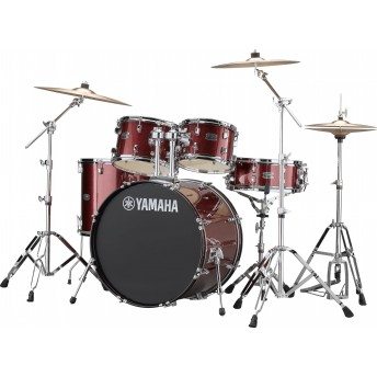 YAMAHA – RYDEEN 5 PIECE DRUM KIT IN EURO SIZES WITH HARDWARE & CYMBALS – BURGUNDY GLITTER