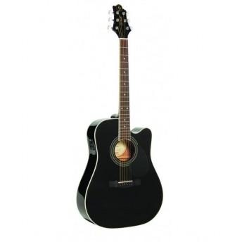 Greg Bennett Solid Dreadnought Cutaway Electric Acoustic Guitar Black