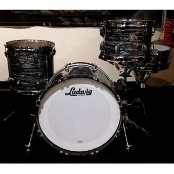 "Ludwig Classic Maple 4 Piece Downbeat 20"" Drum Kit Shell Set - Vintage Black Oyster"