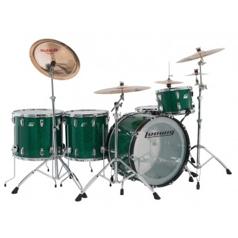 LUDWIG – VISTALITE 4PCE 45TH ANNIVERSARY DRUM KIT SHELL PACK – GREEN SPARKLE