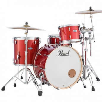 "Pearl Masters Maple Complete 3 Piece Drum Kit 24"" x 14"" Shell Set - Vermillion Sparkle Finish"