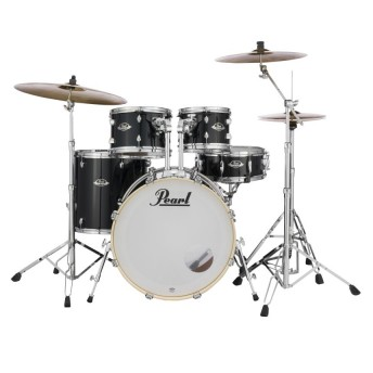 """Pearl Export EXX 22"""" Fusion Plus Drum Kit with Hardware and RSG Pack Jet Black"""