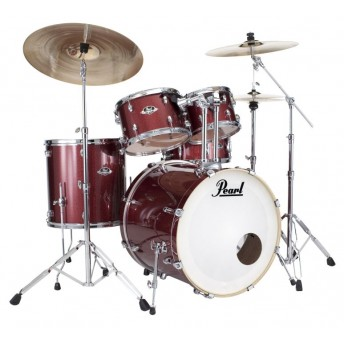 "Pearl Export EXX 22"" Fusion Plus Drum Kit with Hardware and RSG Pack Black Cherry Glitter"