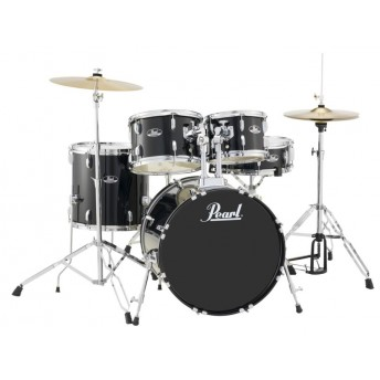 "Pearl Roadshow 20"" 5 Piece Fusion Drum Kit with Hardware and Cymbals Jet Black"