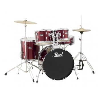 """Pearl Roadshow 20"""" 5 Piece Fusion Drum Kit with Hardware and Cymbals Red Wine"""