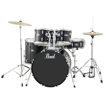 """Pearl Roadshow 22"""" 5 Piece Fusion Plus Drum Kit with Hardware and Cymbals Black"""
