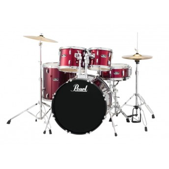 "Pearl Roadshow 22"" 5 Piece Fusion Plus Drum Kit with Hardware and Cymbals Red Wine"