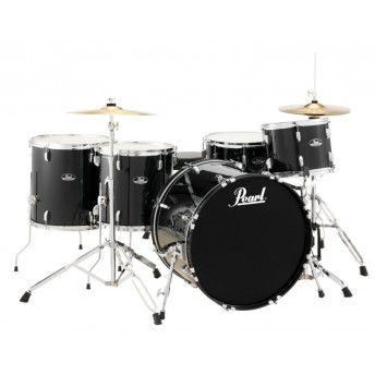 "Pearl Roadshow 22"" 5 Piece Rock Drum Kit with Hardware and Cymbals Jet Black"