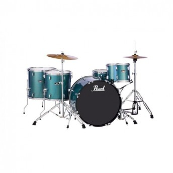 """Pearl Roadshow 22"""" 5 Piece Rock Drum Kit with Hardware and Cymbals Aqua Blue Glitter"""