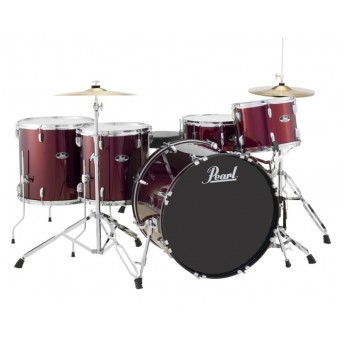 """Pearl Roadshow 22"""" 5 Piece Rock Drum Kit with Hardware and Cymbals Red Wine"""