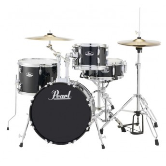 """Pearl Roadshow 18"""" 4 Piece Drum Kit with Hardware and Cymbals Jet Black"""