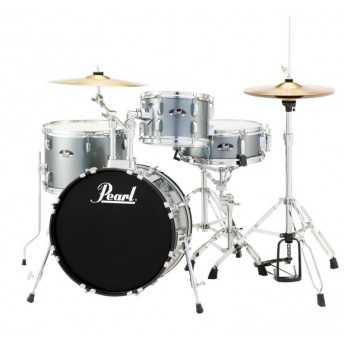 """Pearl Roadshow 18"""" 4 Piece Drum Kit with Hardware and Cymbals Charcoal Metallic"""