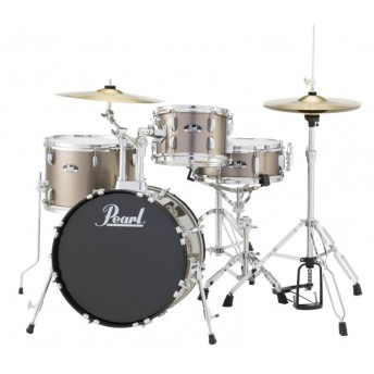 """Pearl Roadshow 18"""" 4 Piece Drum Kit with Hardware and Cymbals Bronze Metallic"""