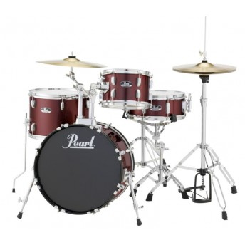 """Pearl Roadshow 18"""" 4 Piece Drum Kit with Hardware and Cymbals Red Wine"""