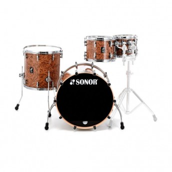 SONOR PROLITE – 5 PIECE MAPLE SHELL KIT - CHOCOLATE BURL FINISH W/CHROME HARDWARE