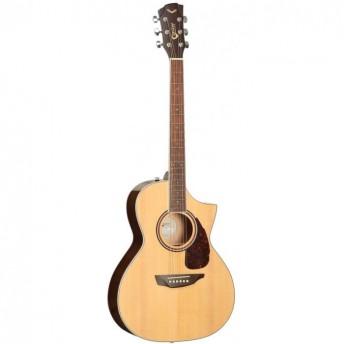 SGW Solid Top Grand Concert Cutaway Electric Acoustic Guitar Natural
