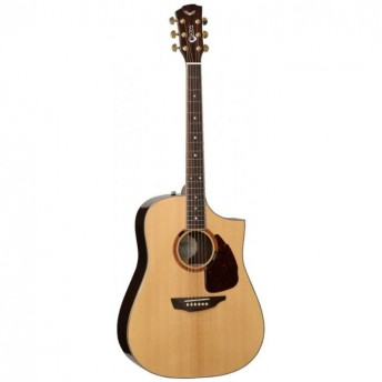 SGW All Solid Dreadnought Cutaway Electric Acoustic Guitar Natural