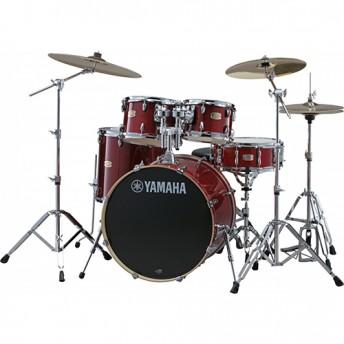 "Yamaha Stage Custom Birch 6 Piece Fusion Drum Kit with Hardware - Cranberry Red - BONUS 8"" TOM"