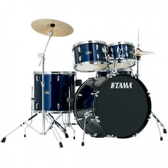 "Tama Stagestar 5 Piece Drum Kit 20"" Set with Hardware and Cymbals - Dark Blue Finish"