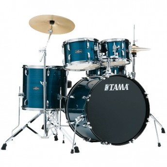 """Tama Stagestar 5 Piece Drum Kit 22"""" Set with Hardware and Cymbals - Hairline Blue Finish"""